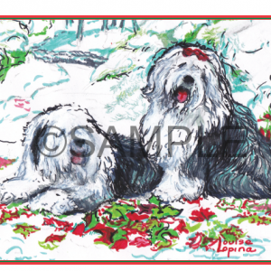 Old English Sheepdog Holiday Cards boxed set shipped online