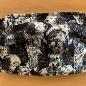 cloth face mask with old english sheep dogs on them