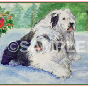 Holiday cards with sheepdogs on them
