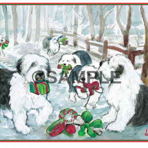 holiday card to buy with old english sheepdogs on them